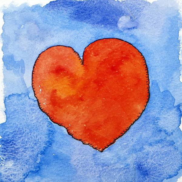 Crush Painting - Red Heart On Blue by Jennifer Abbot