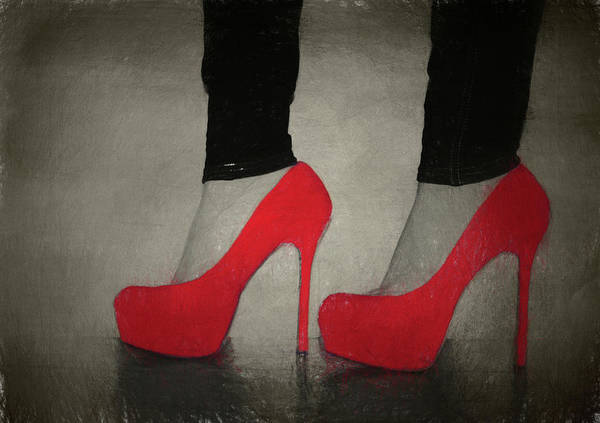 Hair Stylist Mixed Media - Red High Heels by Dan Sproul