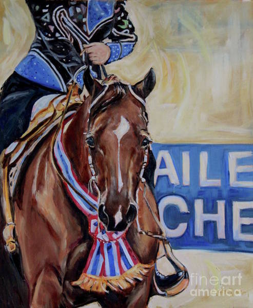 Aqha Painting - Red Horse, With Show Ribbon by Maria's Watercolor