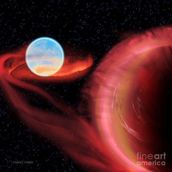 Endless Painting - Red Hot Binary Star by Corey Ford