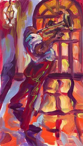 Wall Art - Painting - Red Hot Trumpet by Saundra Bolen Samuel