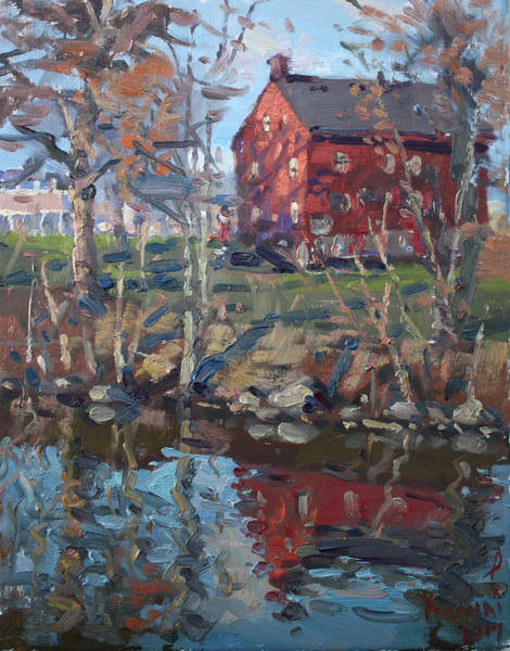 Tonawanda Wall Art - Painting - Red House By Tonawanda Canal by Ylli Haruni