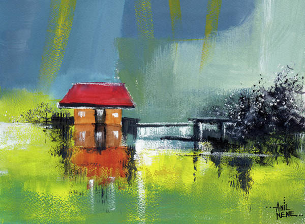 Painting - Red House Dream by Anil Nene