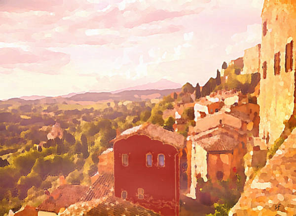 Digital Art - Red House On A Hill by Shelli Fitzpatrick