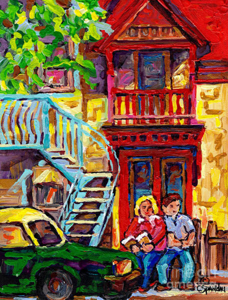 Painting - Red House Rue De Bullion Montreal Street Scenes Painting Canadian Art C Spandau Commission Artist by Carole Spandau