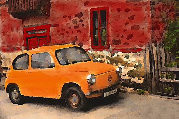 Digital Art - Red House With Orange Car by Shelli Fitzpatrick