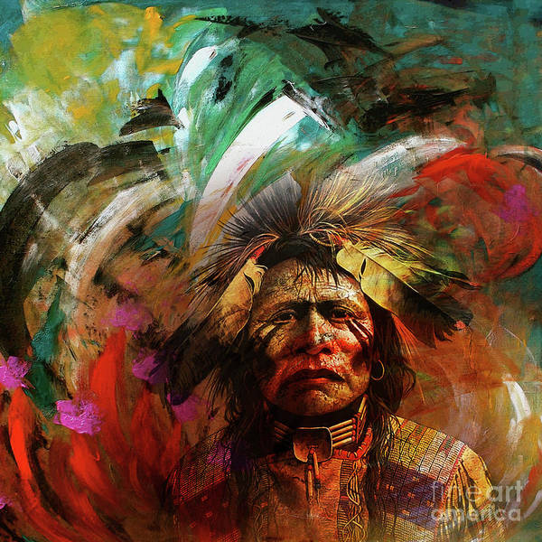 Native Headdress Painting - Red Indians 02 by Gull G