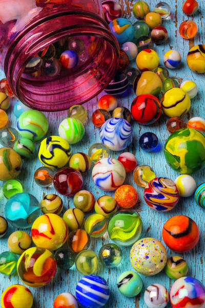Memory Game Photograph - Red Jar With Colorful Marbles by Garry Gay