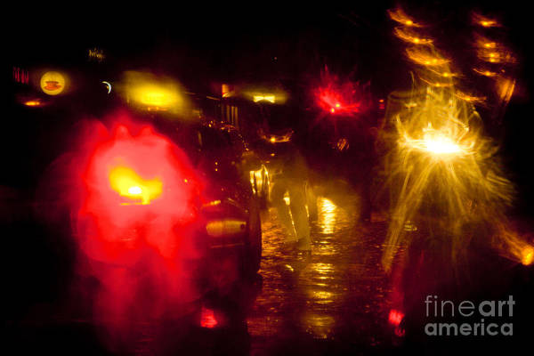 Photograph - Red Light At Night Abstract  by Raimond Klavins
