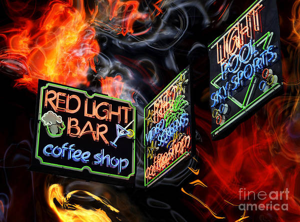 Wall Art - Digital Art - Red Light Bar by John Rizzuto