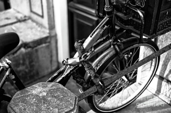 Photograph - Red Light Bicycle Mono by John Rizzuto
