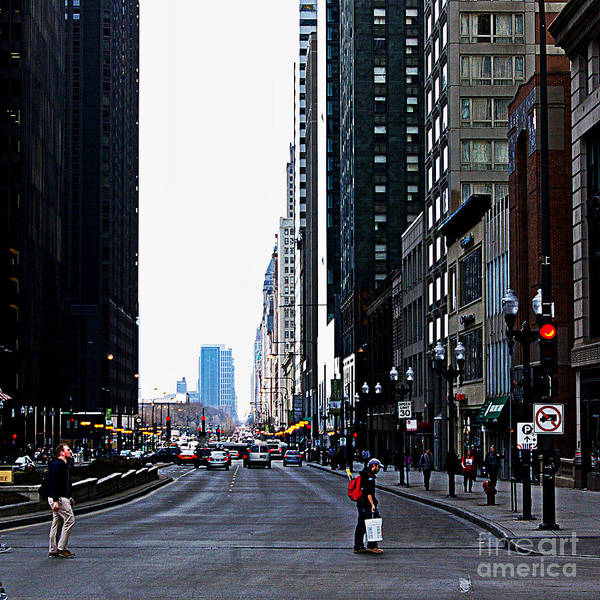 Photograph - Red Lights - City Of Chicago by Frank J Casella
