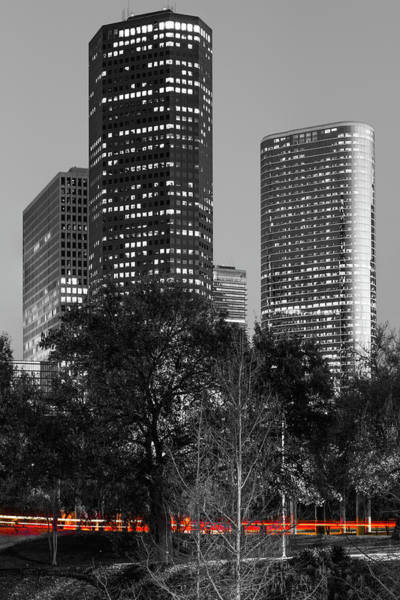 Photograph - Red Lights Under The Houston Skyline - Black And White by Gregory Ballos