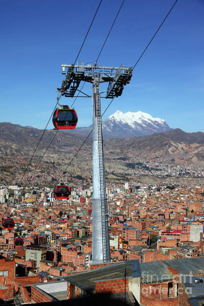 Photograph - Red Line Cable Cars And Mt Illimani La Paz Bolivia by James Brunker