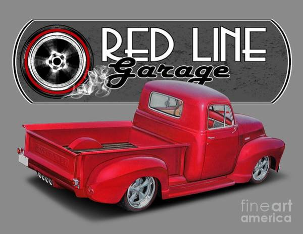 Wall Art - Digital Art - Red Line Garage Street Rod by Paul Kuras