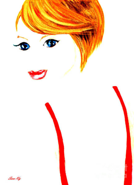Painting - Red Lips, Blue Eyes And Red Hair by Oksana Semenchenko