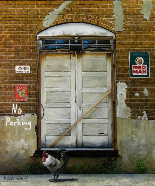 Back Door Painting - Red Man by Doug Strickland