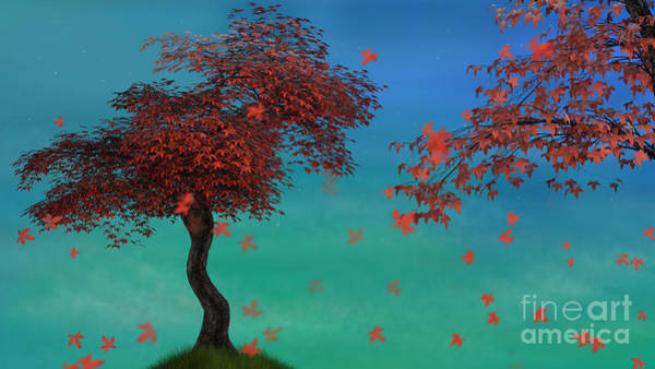 Digital Art - Red Maples by Elle Arden Walby