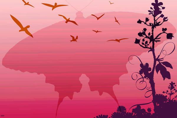 Butterfly On Flower Digital Art - Red Mat Butterfly by Debra     Vatalaro