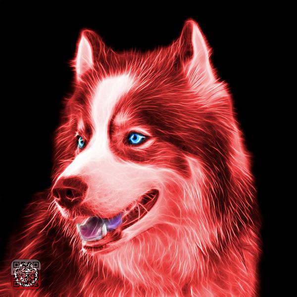 Painting - Red Modern Siberian Husky Dog Art - 6024 - Bb by James Ahn