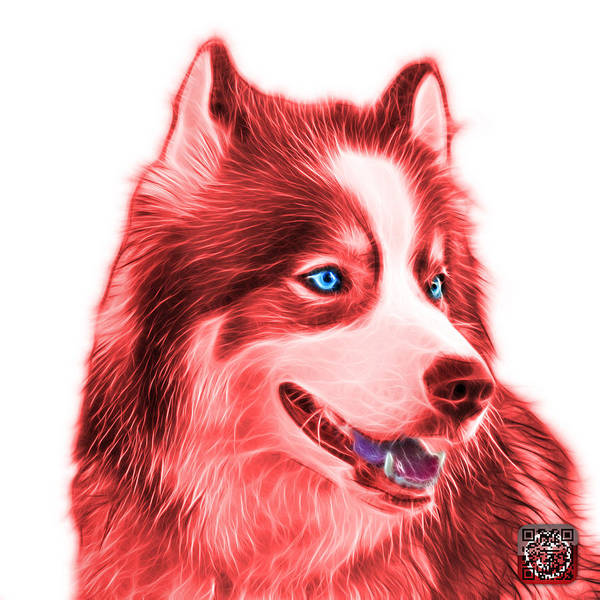 Painting - Red Modern Siberian Husky Dog Art - 6024 - Wb by James Ahn