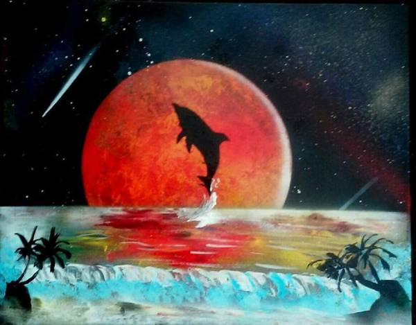 Cartagena Painting - Red Moon by Murales Cartagena