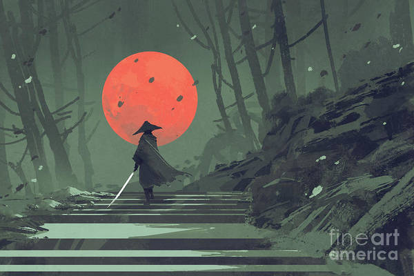 Art Print featuring the painting Red Moon Night by Tithi Luadthong