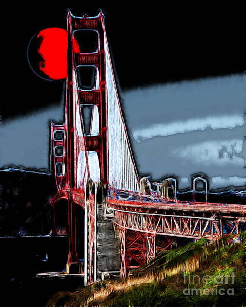 Photograph - Red Moon Over The Golden Gate Bridge by Wingsdomain Art and Photography