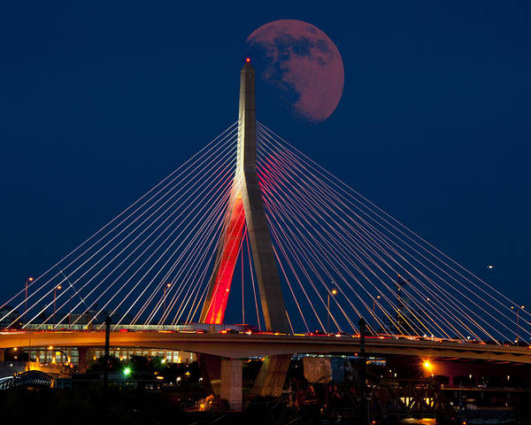 Photograph - Red Moon Over The Zakim Bridge - Boston by Joann Vitali