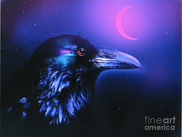 Wall Art - Painting - Red Moon Raven by Robert Foster