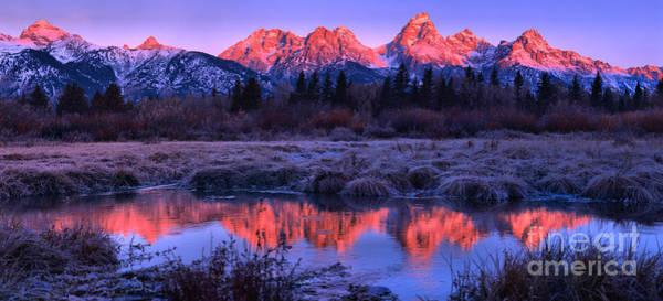 Photograph - Red Morning Teton Peaks Panorama by Adam Jewell