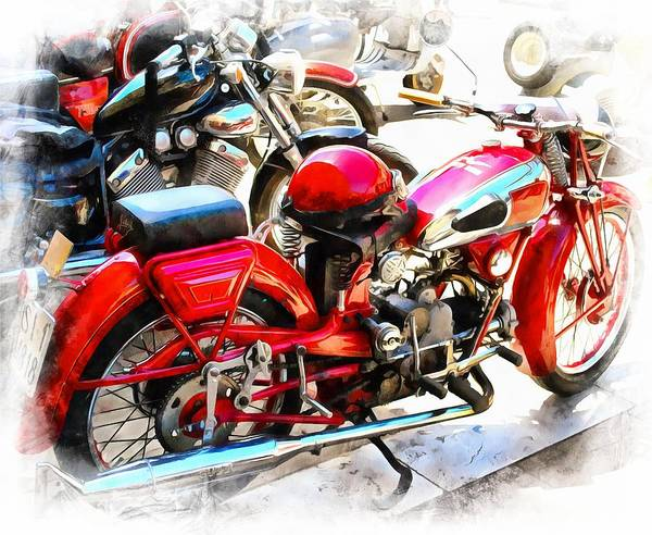 Photograph - Red Moto Guzzi Motorcyle And Helmet by Dorothy Berry-Lound