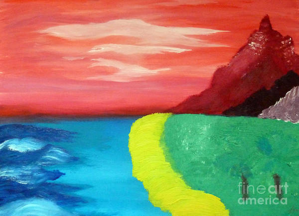 Red Mountain By The Sea Art Print