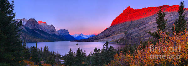 Photograph - Red Mountain Glow Over St Mary Panorama by Adam Jewell