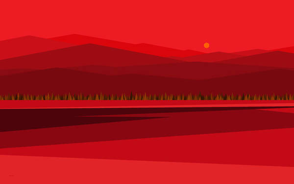 Digital Art - Red Mountain Peaks by Val Arie