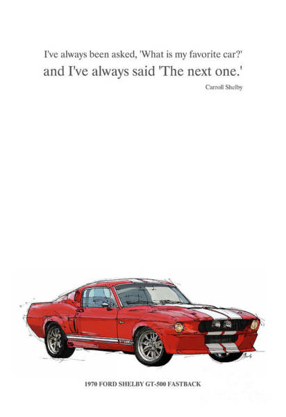 Classic Cars Digital Art - Red Mustang Shelby. Original Gift For Men by Drawspots Illustrations