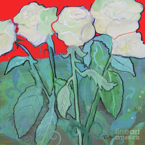 Painting - Red Night White Tea Roses by Robin Maria Pedrero