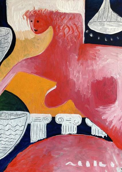 Greek House Painting - Red Nude No 2 In The Bath House  by Mark M Mellon