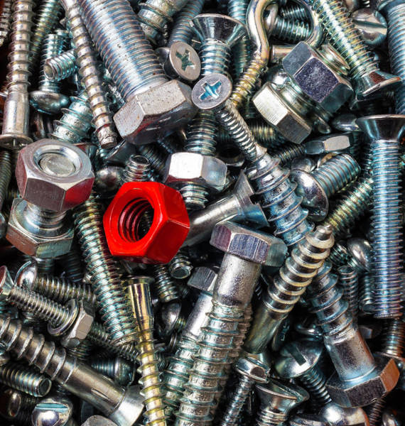 Screw Pile Wall Art - Photograph - Red Nut With Screws And Bolts by Garry Gay