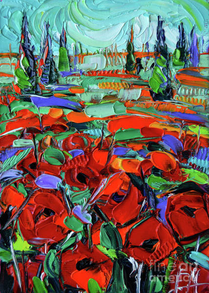 Wall Art - Painting - Red Of Tuscany - Impressionism Poppies Impasto Oil Painting by Mona Edulesco