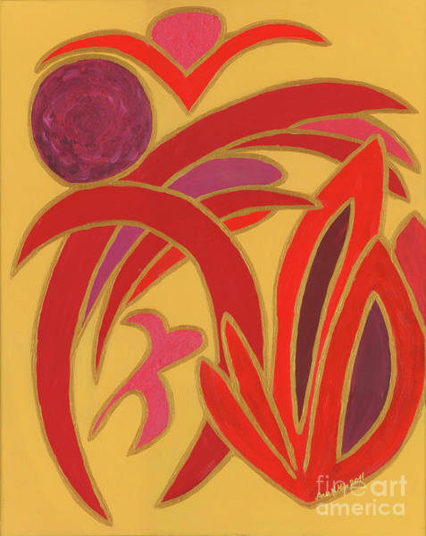 Painting - Red On Gold II by Ania M Milo