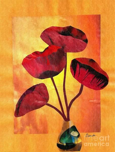 Red Poppy Mixed Media - Red On Orange by Sarah Loft