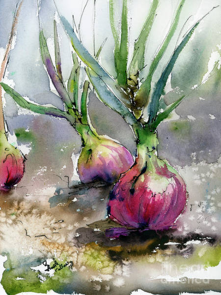 Painting - Red Onions Watercolors by Ginette Callaway