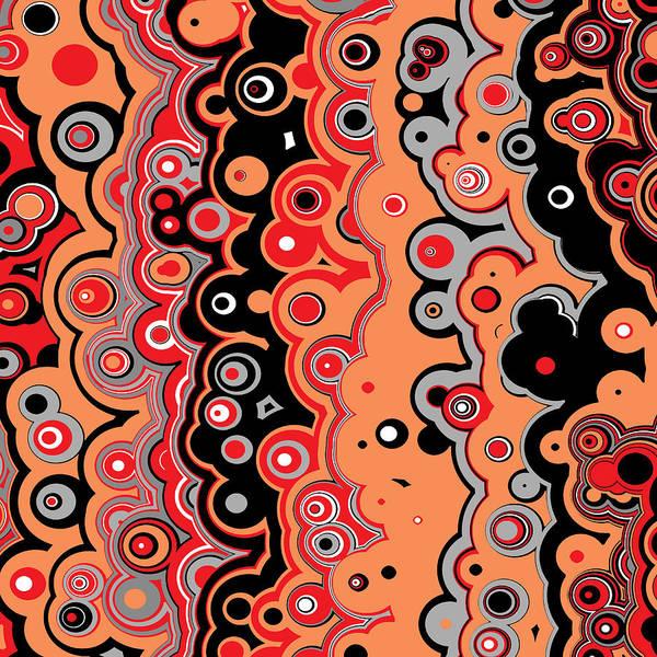 Digital Art - Red Orange Black Targets And Lines by Joy McKenzie