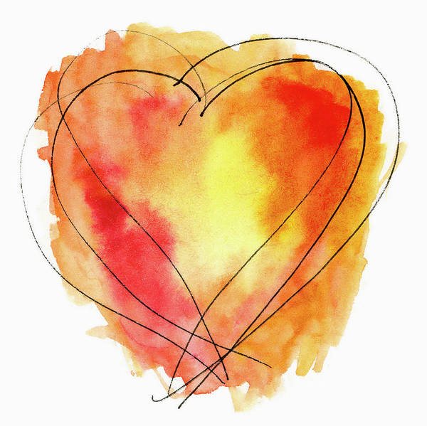 Red Orange Yellow Watercolor And Ink Heart Art Print
