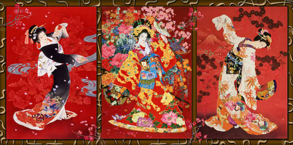 Triples Photograph - Red Oriental Trio by MGL Meiklejohn Graphics Licensing