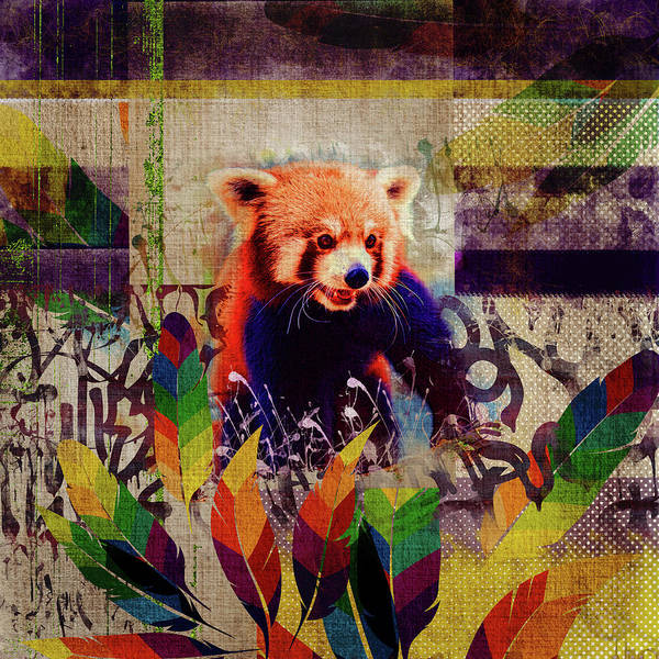 Firefox Digital Art - Red Panda Abstract Vintage Pop Art Composition by Creativemotions