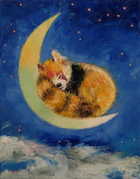 Red Moon Painting - Red Panda Dreams by Michael Creese