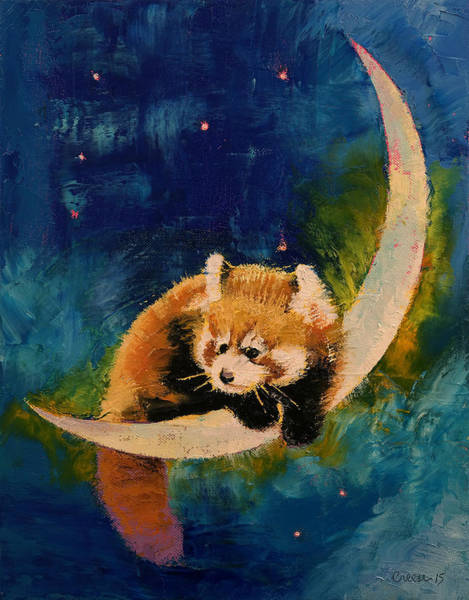 Red Moon Painting - Red Panda Moon by Michael Creese