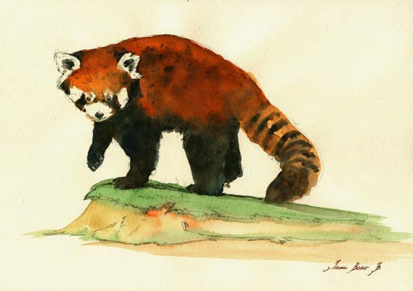 Panda Wall Art - Painting - Red Panda Walk by Juan  Bosco